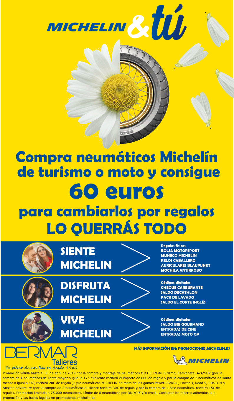 Promo abril 2019 Neumáticos Michelín