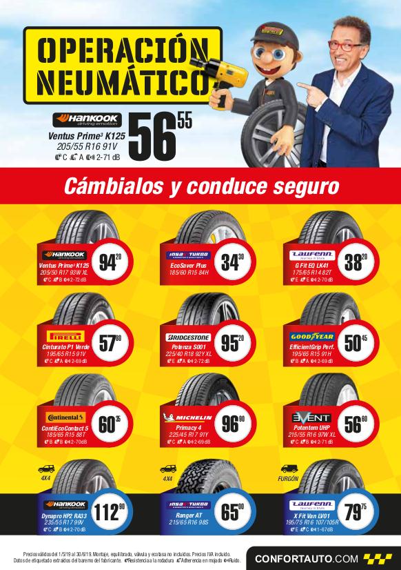 Precios neumáticos mayo-junio 2019